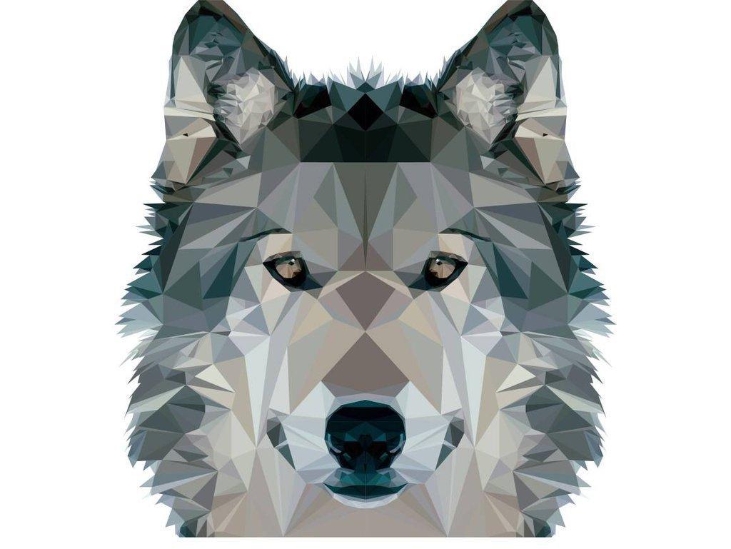 картинки волка из треугольников друг другом