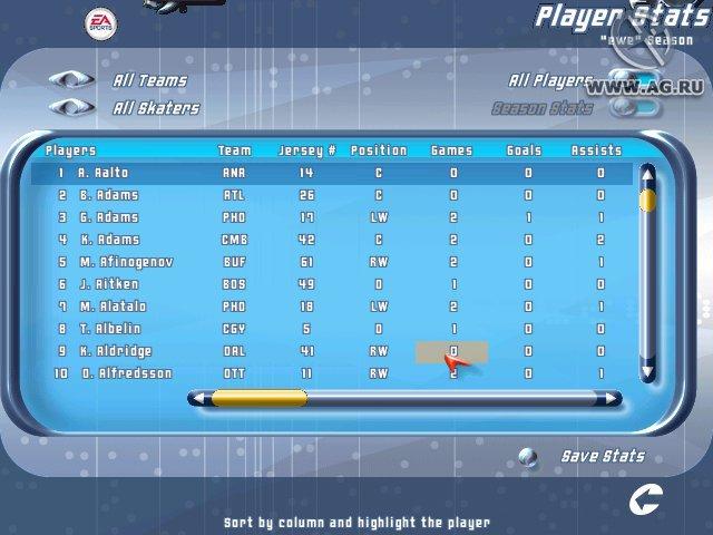 NHL 2001 screenshot