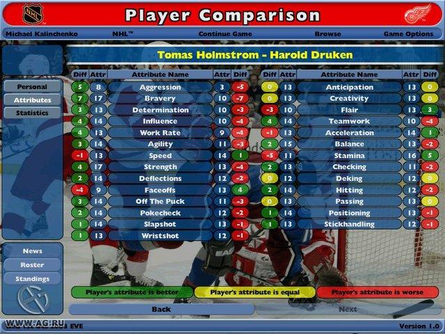 NHL Eastside Hockey Manager screenshot